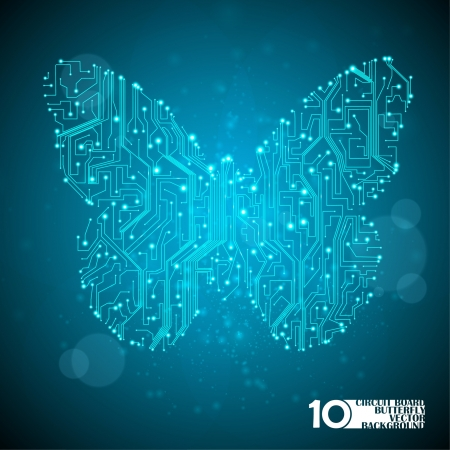 Circuit board vector background, technology illustration, butterfly illustration eps10 Stock Vector - 14161898