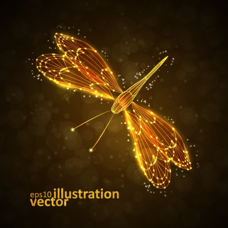 dragonfly: Shiny abstract dragonfly, technology energy vector illustration eps10