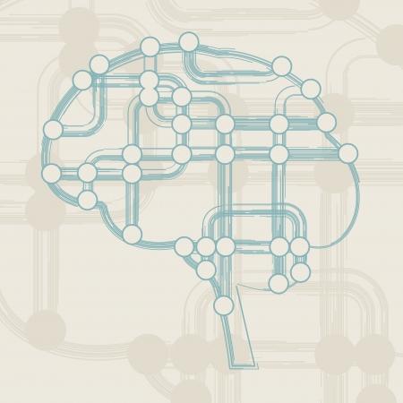 retro circuit board form of brain, technology illustration illustration