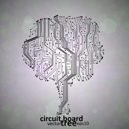 circuit board background, technology illustration, form of tree Stock Vector - 14289290