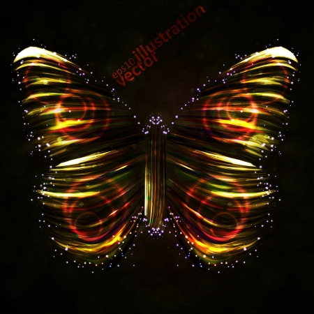 banner effect: Shiny Butterfly abstract, futuristic colorful strip, stylish illustration