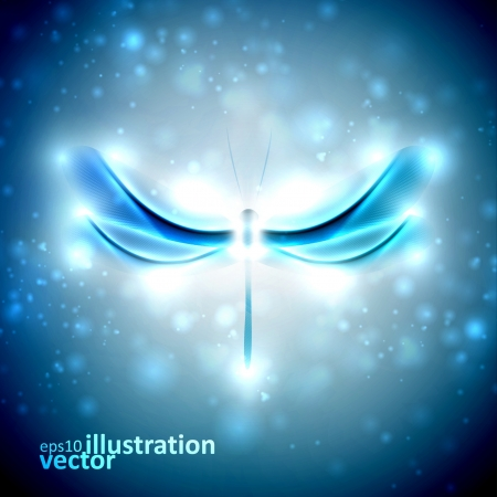 Shiny abstract dragonfly, futuristic colorful illustration  Vector