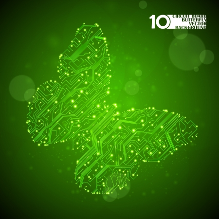Circuit board vector background, technology illustration, butterfly illustration eps10 Illustration