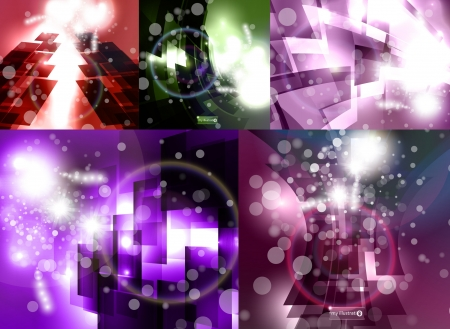 set for abstract, stylish futuristic Vector
