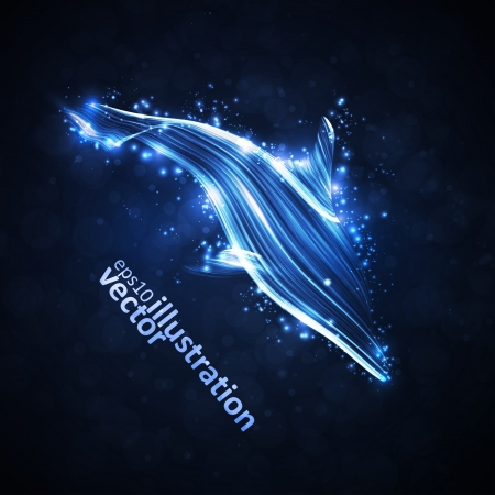 Neon dolphin, abstract futuristic strip, stylish Vector
