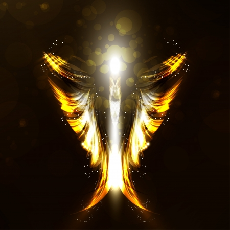 Angel futuristic background, wing illustration