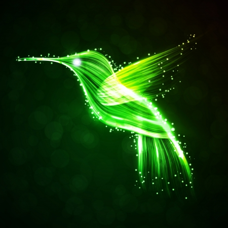 Neon hummingbird, abstract lights backgrounds Stock Photo - 15192125