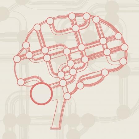 retro circuit board form of brain, technology illustration Stock Illustration - 15192191