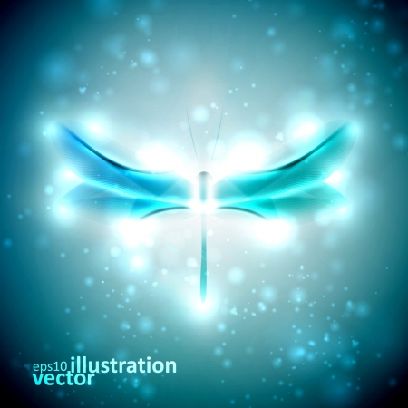 Shiny abstract dragonfly, futuristic colorful illustration