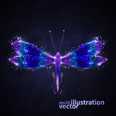 Shiny abstract dragonfly Vector