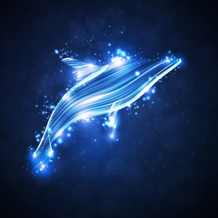 Neon dolphin, abstract futuristic strip, stylish illustration illustration