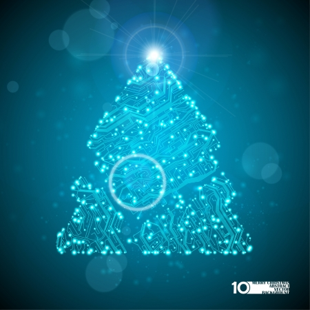 circuit board background, technology illustration, christmas tree Illustration