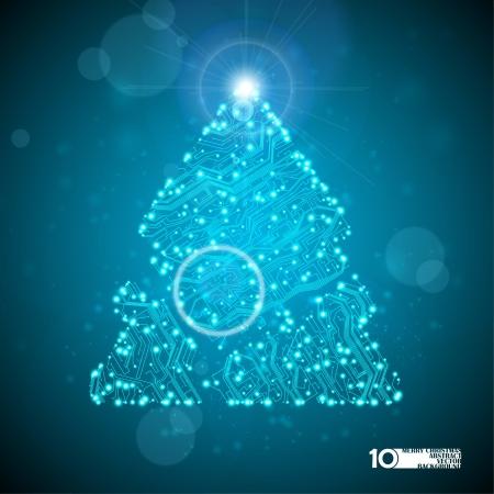 electronic board: circuit board background, technology illustration, christmas tree Illustration