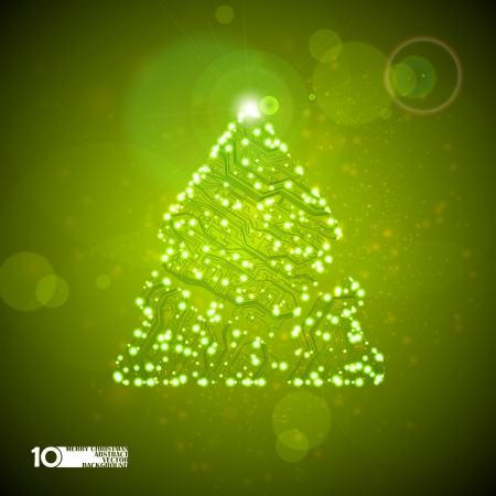 circuit board background, technology illustration, christmas tree Vector