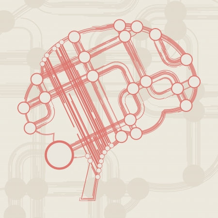 retro circuit board form of brain, technology illustration illustration