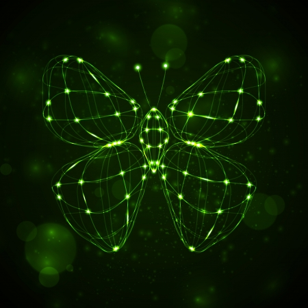 Shiny abstract butterfly, technology energy illustration  illustration