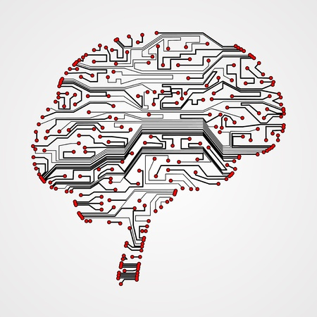 circuit board background, technology illustration, form of brain