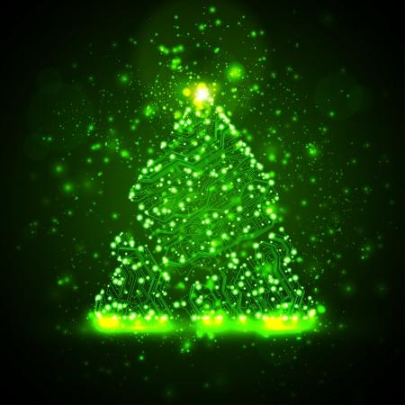 Circuito sfondo, illustrazione tecnologia, albero di Natale Archivio Fotografico - 15804876