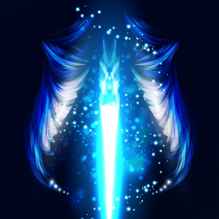 gothic angel: Angel futuristic background, wing illustration