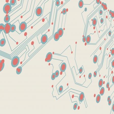 Retro circuit board background, vintage technology illustration  illustration