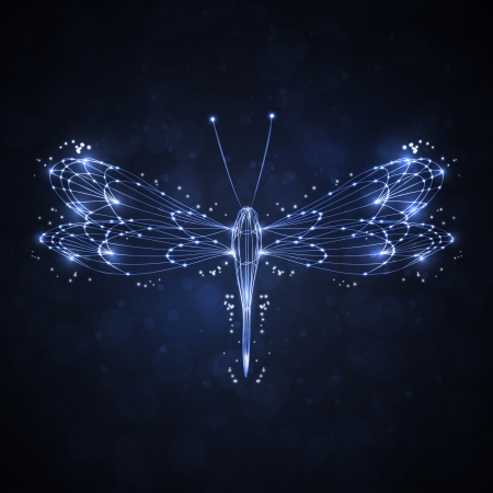 Shiny abstract dragonfly, technology energy illustration  illustration