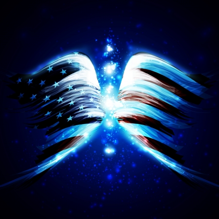 artificial wing: Abstract angel wings with american flag on shiny space background, creative illustration Stock Photo