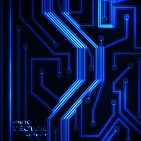 Neon circuit board, abstract  background, technology illustration  Vector