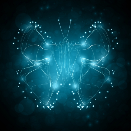 Shiny abstract butterfly, futuristic wave illustration illustration