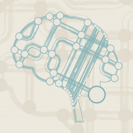 retro circuit board form of brain, technology illustration Stock Illustration - 16218050