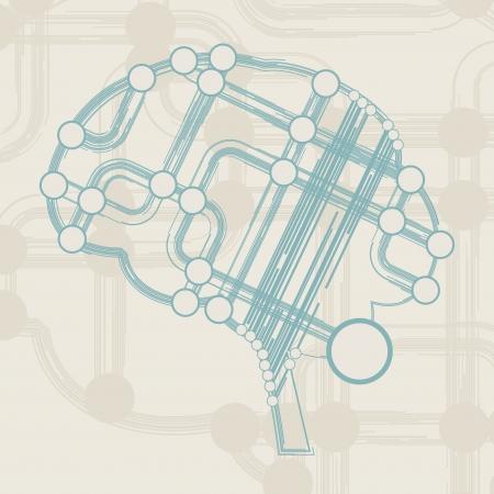 retro circuit board form of brain, technology illustration Stock Illustration - 16218050