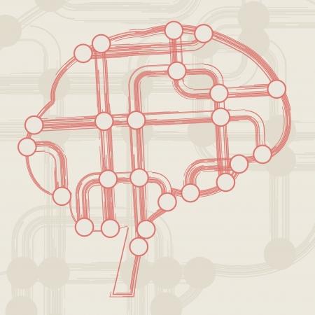 retro circuit board form of brain, technology illustration Stock Illustration - 16441390