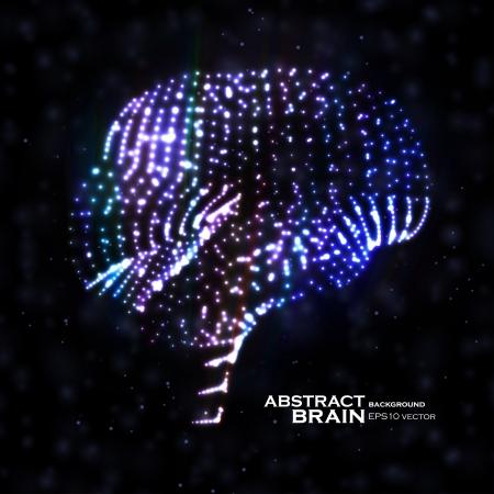 anatomy brain: Neon cervello, illustrazione astratta, elementi luminosi - modificabile