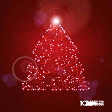 circuit board vector background, technology illustration, christmas tree