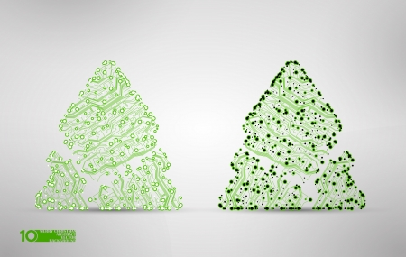 circuit board vector background, technology illustration, christmas tree Vector
