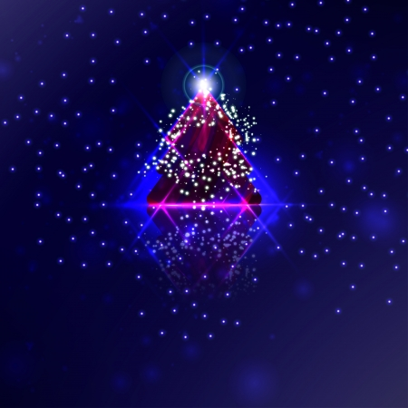 Abstract Christmas tree on the colorful background photo