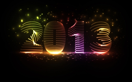 New Year celebration vector illustration, colorful lights elements - editable eps10 Stock Vector - 16716510