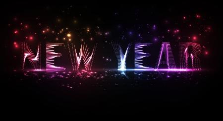 New Year celebration illustration, colorful lights elements Stock Illustration - 16912973