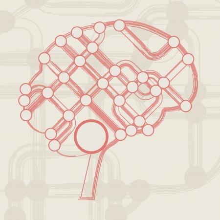 retro circuit board form of brain, technology illustration Stock Illustration - 16956947