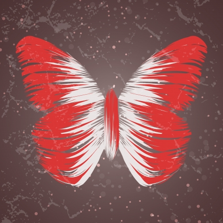 retro butterfly on old background, colorful abstract illustration illustration