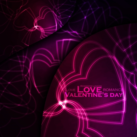 Neon hearts, abstract background, futuristic  illustration - editable Stock Vector - 17513129