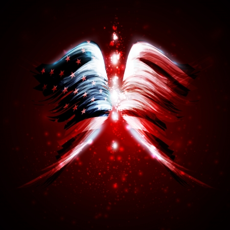 Abstract angel wings with american flag on shiny space background Vector