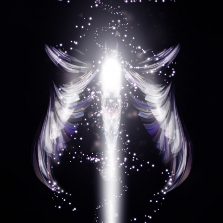 futuristic effect: Angel  futuristic background Stock Photo