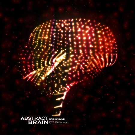 Neon brain, abstract vector illustration, bright elements Stock Vector - 18969867