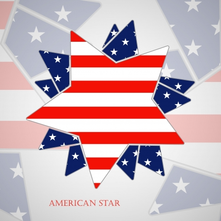 The abstract star with american flag Stock Vector - 19354588