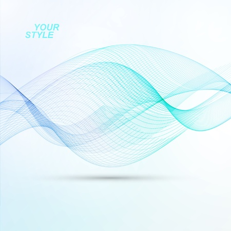 abstract waves: Abstract vector background, futuristic blue wavy illustration