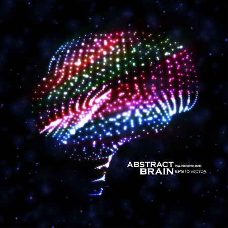 Neon brain, abstract vector illustration, bright elements Stock Vector - 20913709