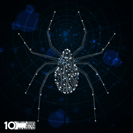 Circuit board vector background, technology illustration, spider illustration Stock Vector - 21160164
