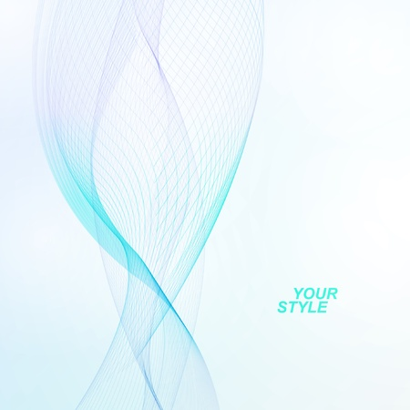 Abstract vector background, futuristic blue wavy illustration