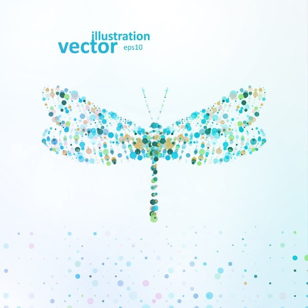 dragonfly: Abstract dragonfly, futuristic colorful illustration