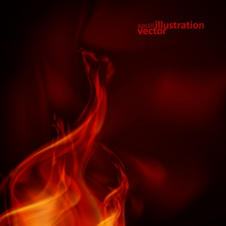 Resumen llamas de fuego sobre un fondo negro. Ilustración vectorial colorido eps10 Foto de archivo - 22495197